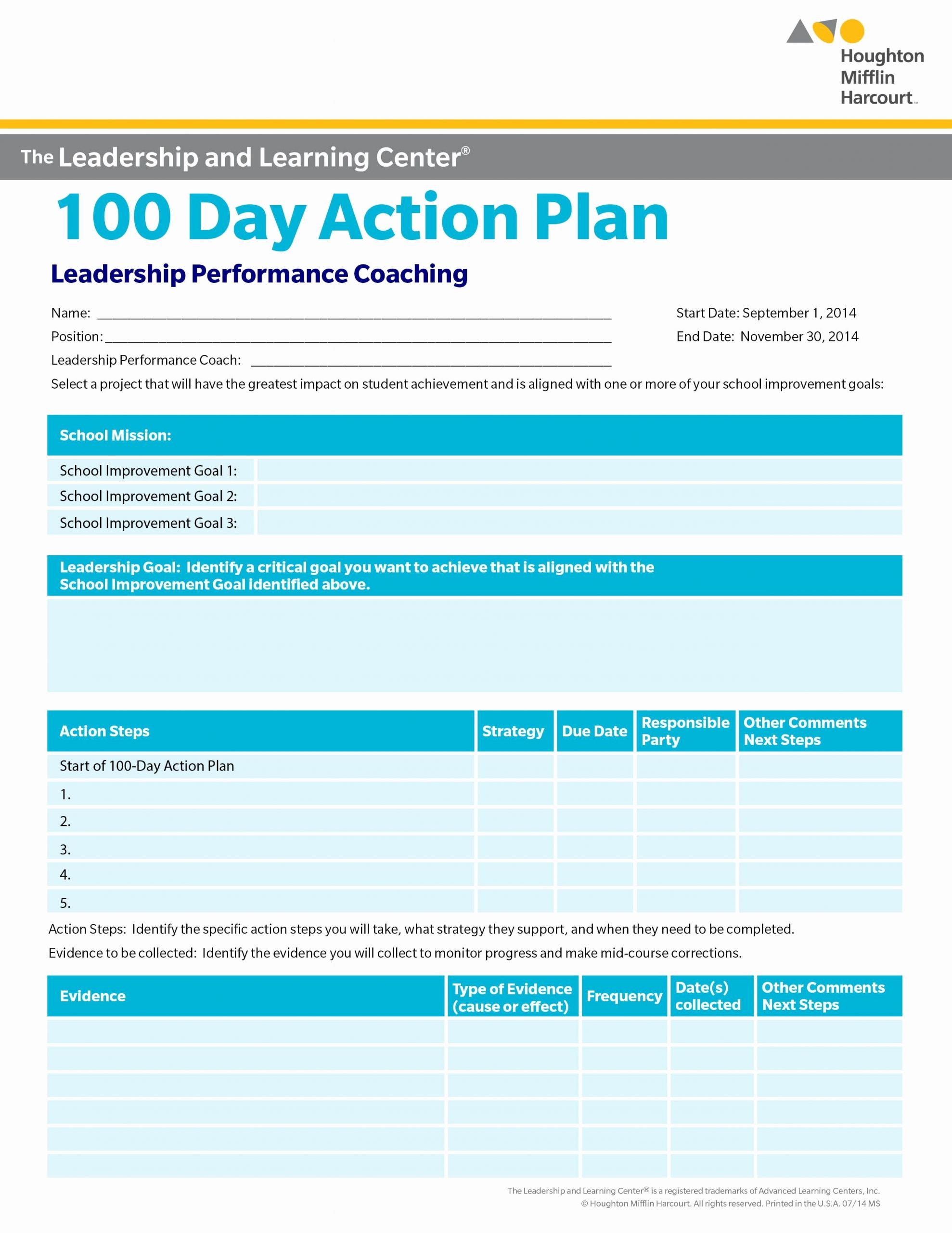 100 Day Plan Template Excel Luxury School Improvement 100 Day Action Plan Select A Goal for