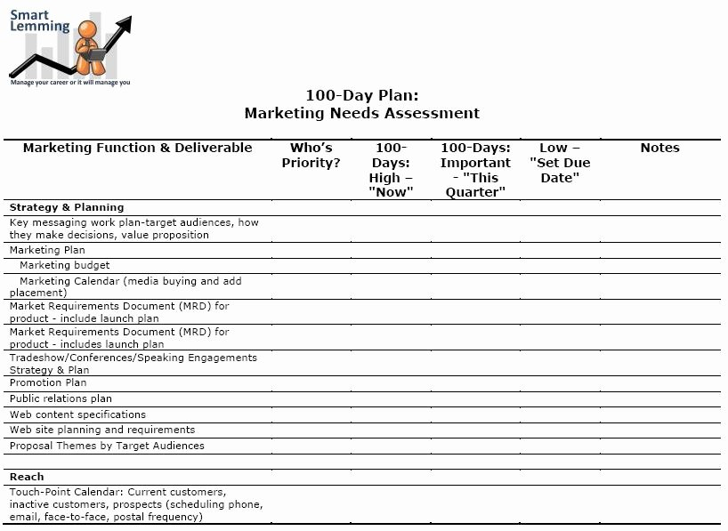 100 Day Plan Template Excel Unique Needs assessment Template