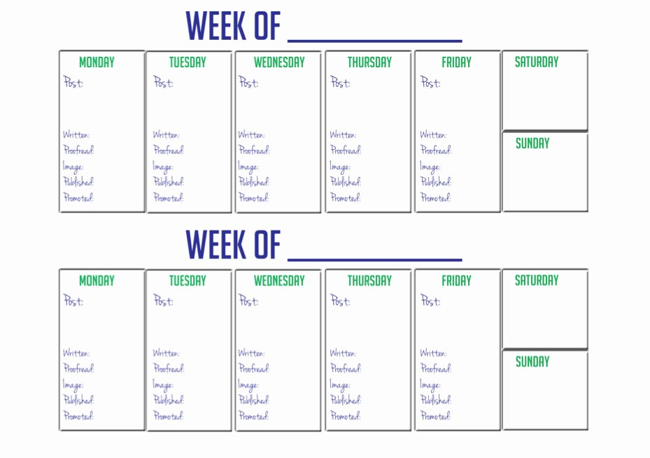 2 Week Schedule Template Awesome Kate the Almost Great Giveaway