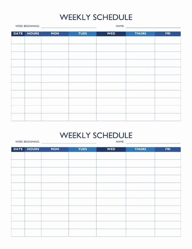 2 Week Schedule Template Beautiful Free Work Schedule Templates for Word and Excel