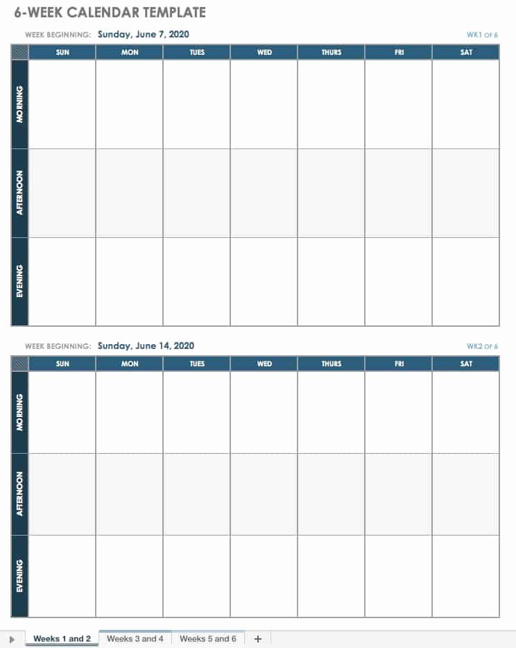 2 Week Schedule Template Inspirational Dentrodabiblia 6 Week Calendar