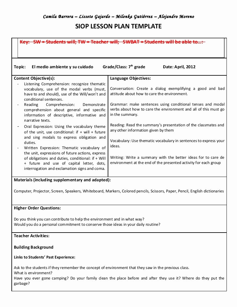 21st Century Lesson Plan Template Awesome Siop Unit Lesson Plan Template Sei Model
