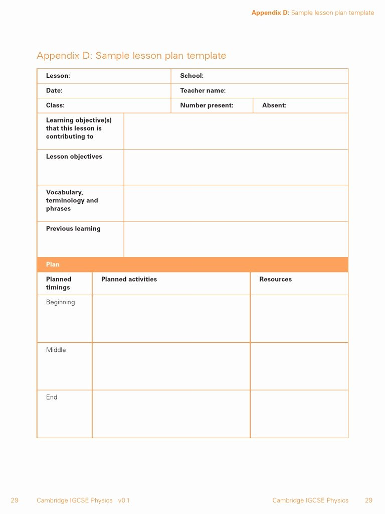 21st Century Lesson Plan Template Inspirational Lesson Plan Template for Igcse