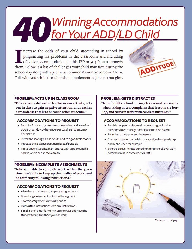 504 Plan Template Adhd Awesome 41 Best Iep Mods Ac Modations Images On Pinterest