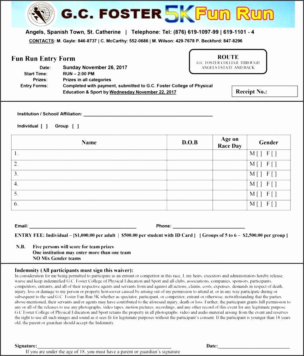 5k Race Registration form Template Luxury 8 Sports Camp Registration form Template