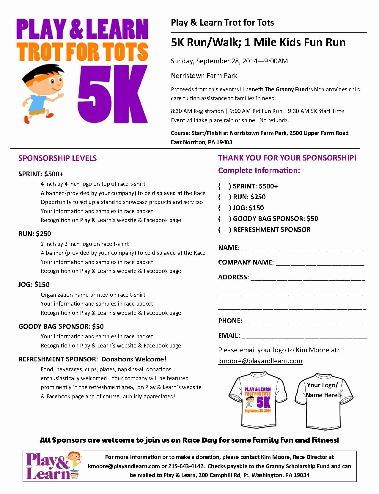 5k Race Registration form Template New Sponsor form for Play & Learns 5k and Kids Fun Run Race