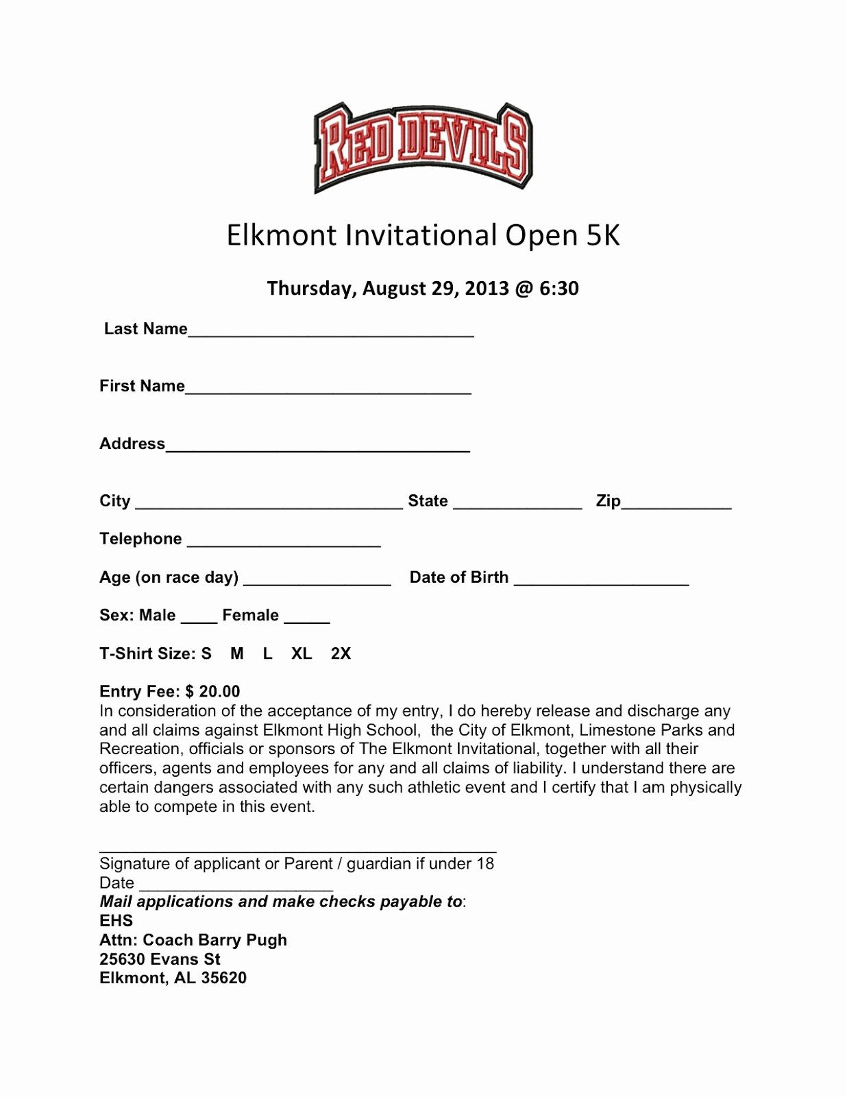 5k Registration form Template Beautiful Elkmont Alabama Elkmont Open 5k Run Runners Unite