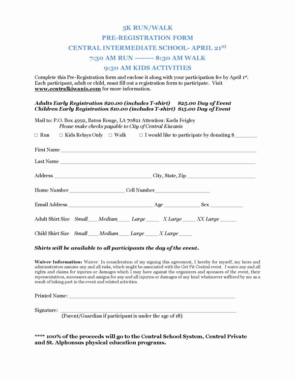 5k Registration form Template Best Of Registration form Template for 5k Pdf Katherine Crabtree
