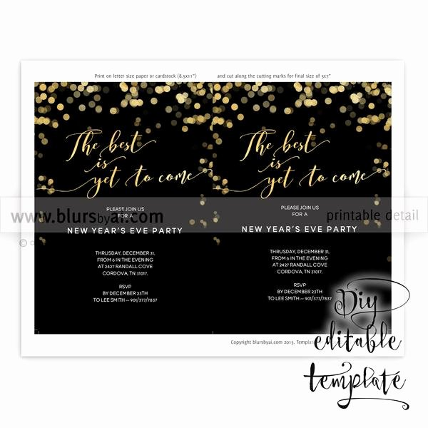 5x7 Invitation Template Word Awesome Printable New Year S Eve Party Invitation Template for