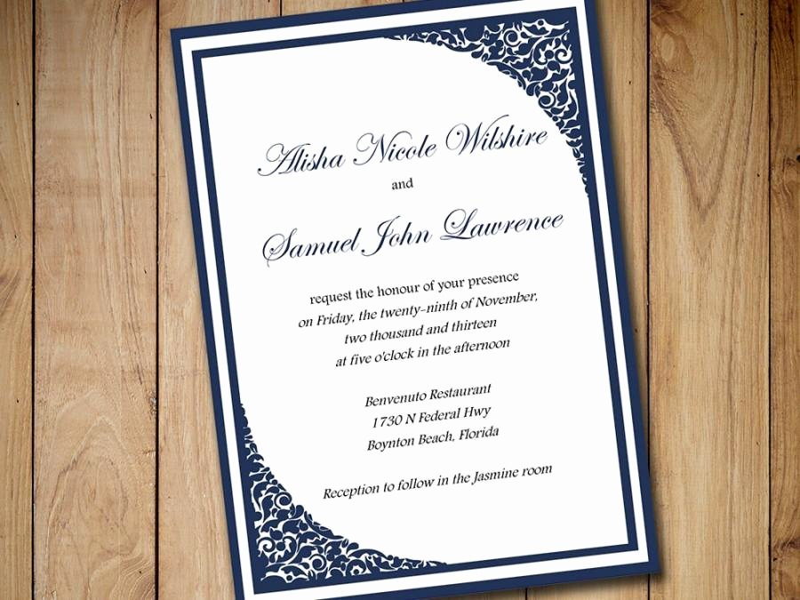 5x7 Invitation Template Word Awesome Printable Wedding Invitation Template Download Dark Navy