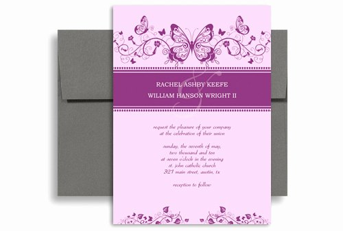 5x7 Invitation Template Word Awesome Purple White butterfly Printable Wedding Invitation 5x7 In