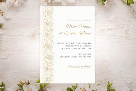 5x7 Invitation Template Word Beautiful Diy Printable 5x7 Wedding Invitation Template Gold Heart