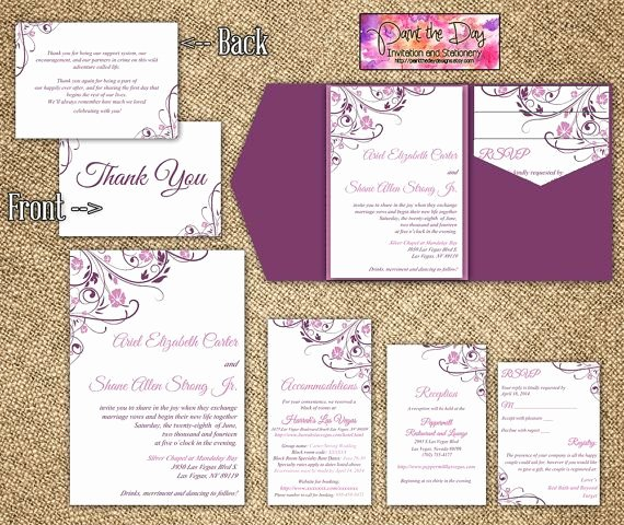 "5x7 Invitation Template Word Elegant Blooming Vines ""finola"" 5x7 Wedding Pocketfold Microsoft"
