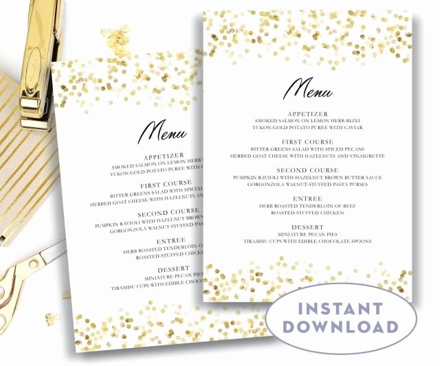 5x7 Invitation Template Word Elegant Gold Wedding Menu Template 5x7 Editable Text Microsoft