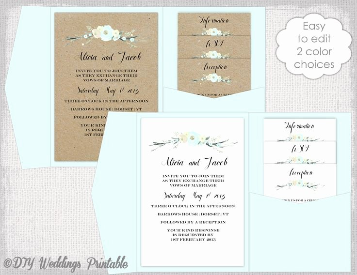5x7 Invitation Template Word Elegant Pocket Wedding Invitation Template Diy Pocketfold Wedding