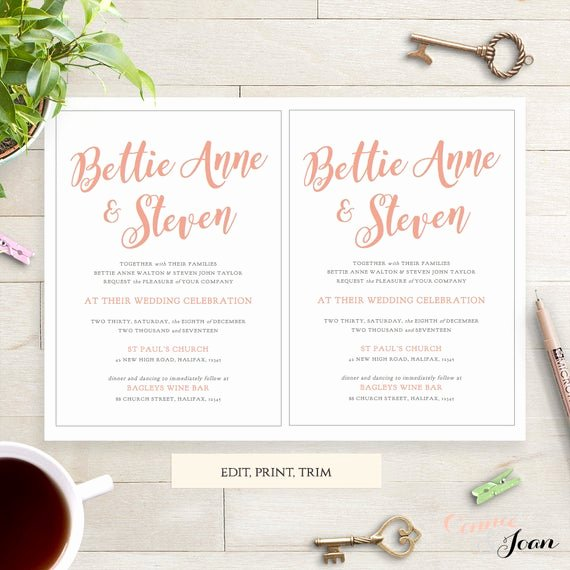 5x7 Invitation Template Word Fresh Coral Wedding Invitation Template 5x7 Printable by