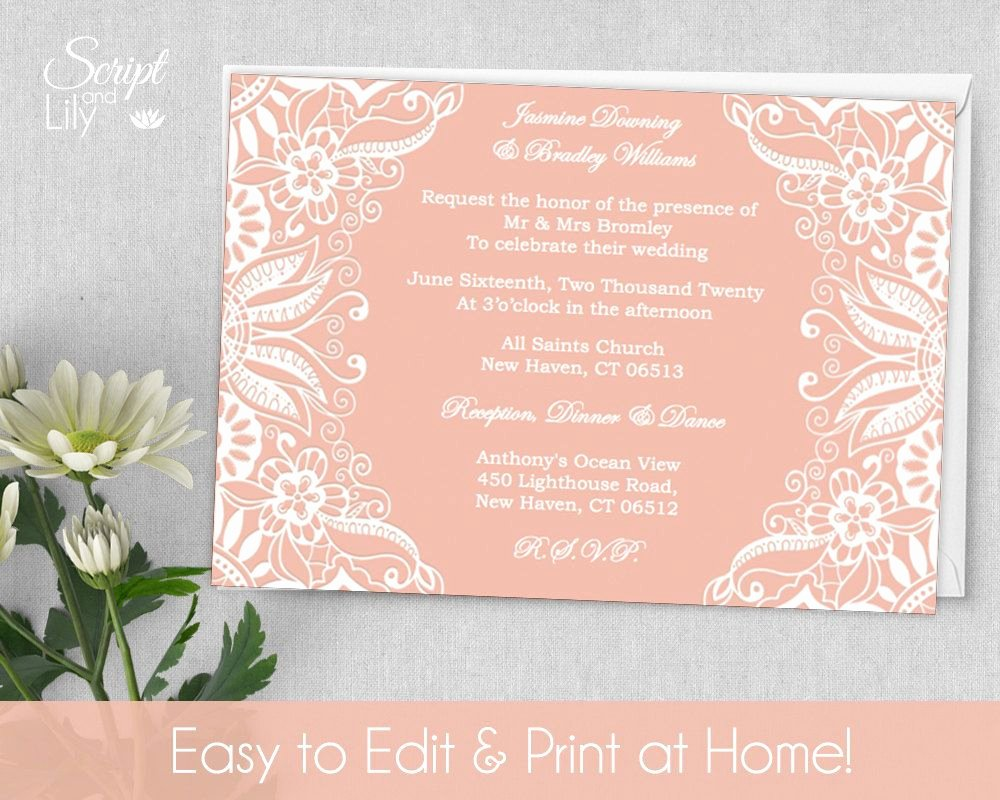 5x7 Invitation Template Word Luxury Printable Lace Invitation Template