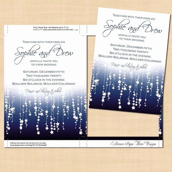 5x7 Invitation Template Word Unique Blue Star Streamers Wedding Invitation Template 5x7