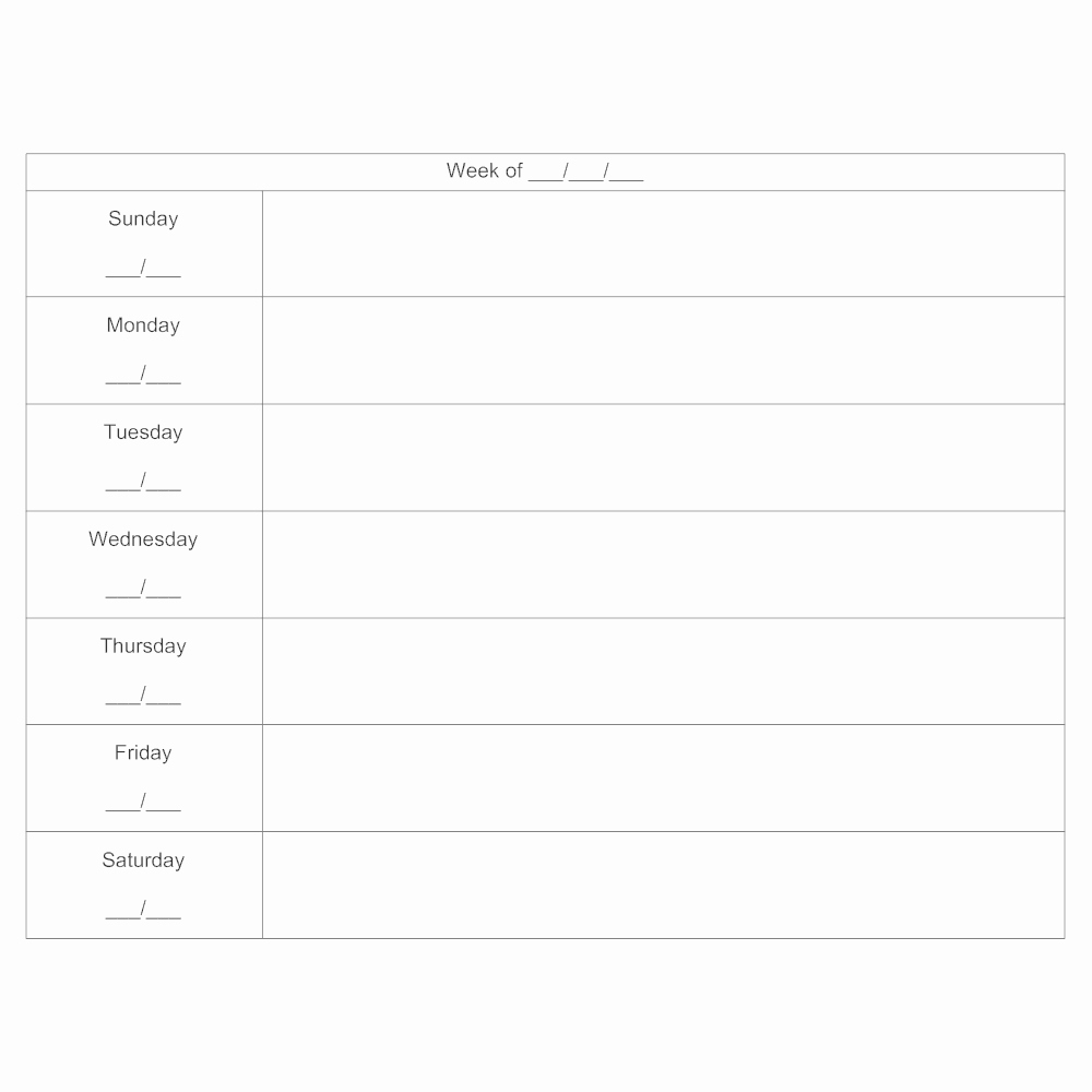 7 Day Planner Template Awesome 7 Day Schedule Calendar