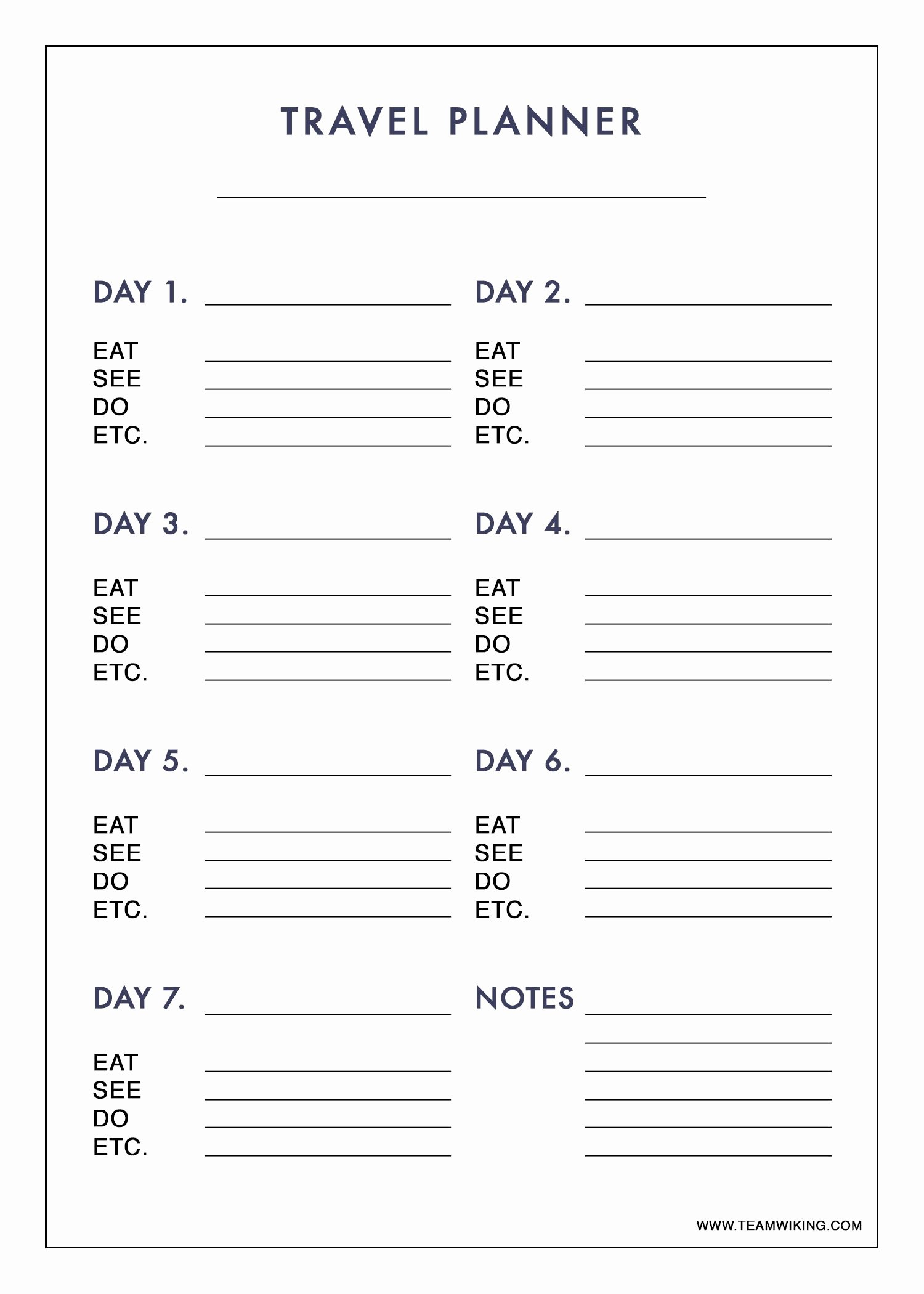 7 Day Planner Template Unique Free Printable 7 Day Travel Planner Use to Plan Outfits