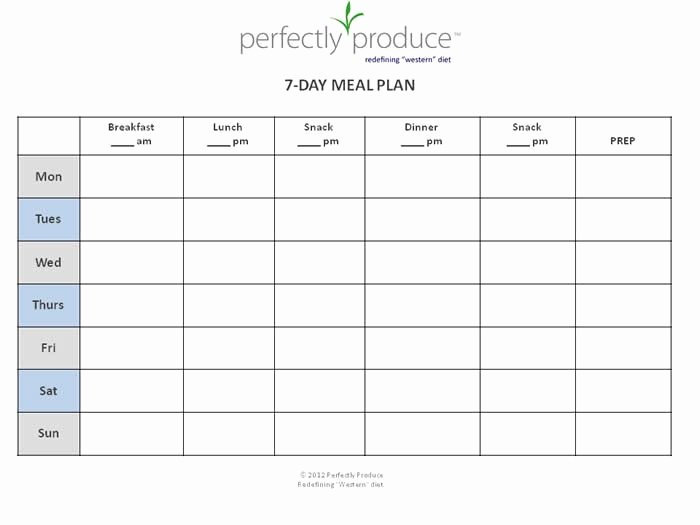 7 Day Planner Template Unique Perfectly Produce Free 7 Day Meal Planning Template My