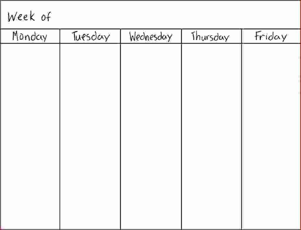 7 day week calendar template