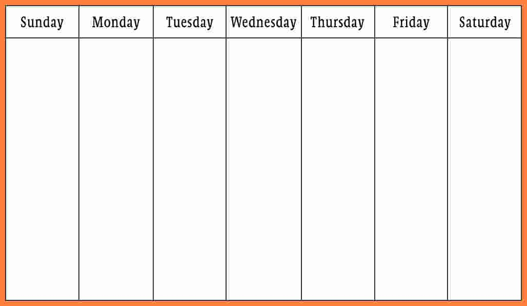 7 Day Week Schedule Template Beautiful 7 Weekly Calendar Template Word