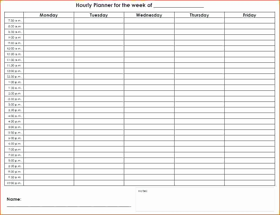 7 Day Week Schedule Template Best Of Hourly Planner Template Excel Day