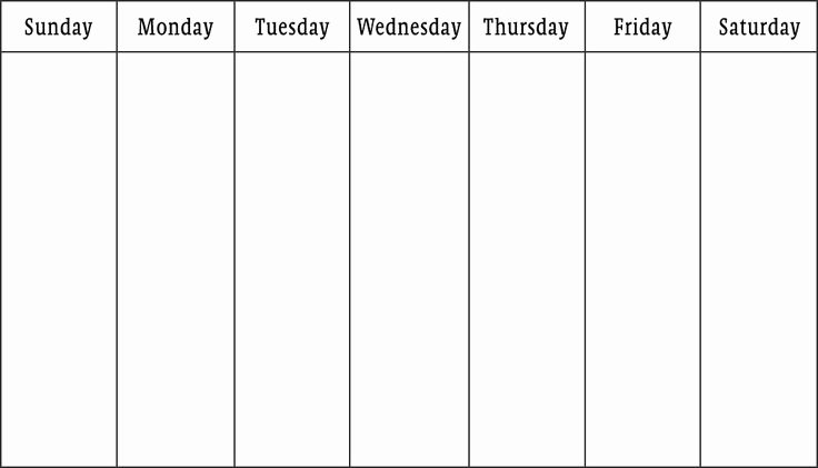 7 Day Week Schedule Template Lovely Blank Week Calendar