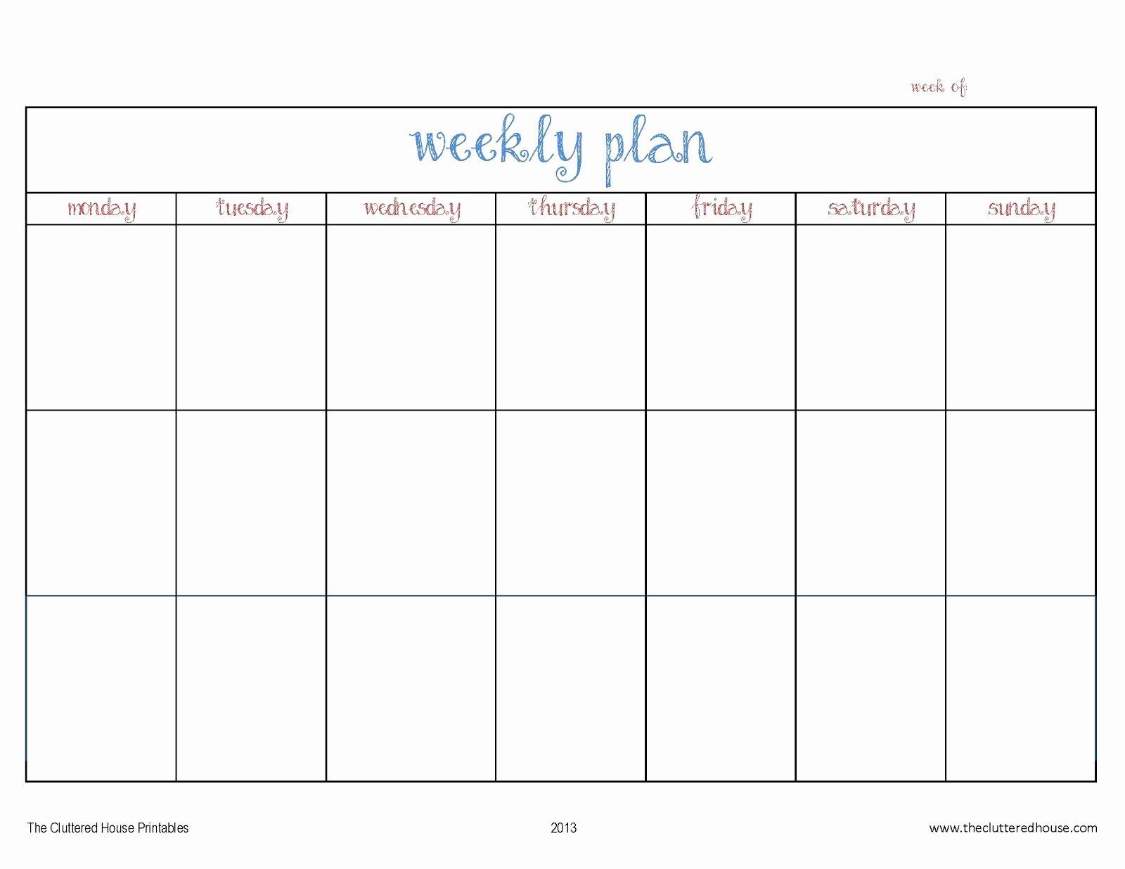7 Day Week Schedule Template New Blank 7 Days Work Schedule Template