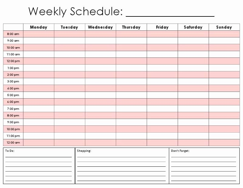 7 Day Week Schedule Template New Printable Hourly Daily Calendar Template