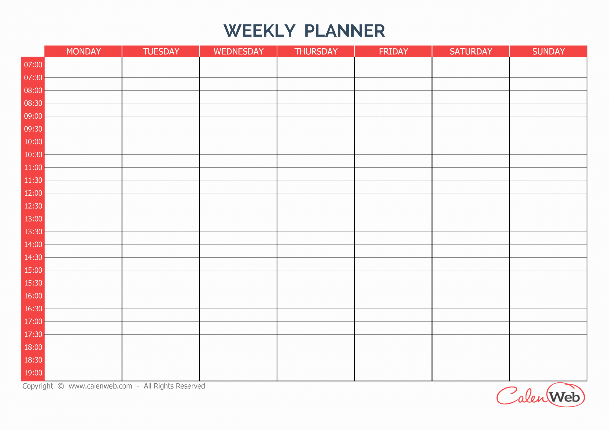 7 Day Work Schedule Template Lovely Weekly Planner 7 Days First Day Monday A Week Of 7 Days