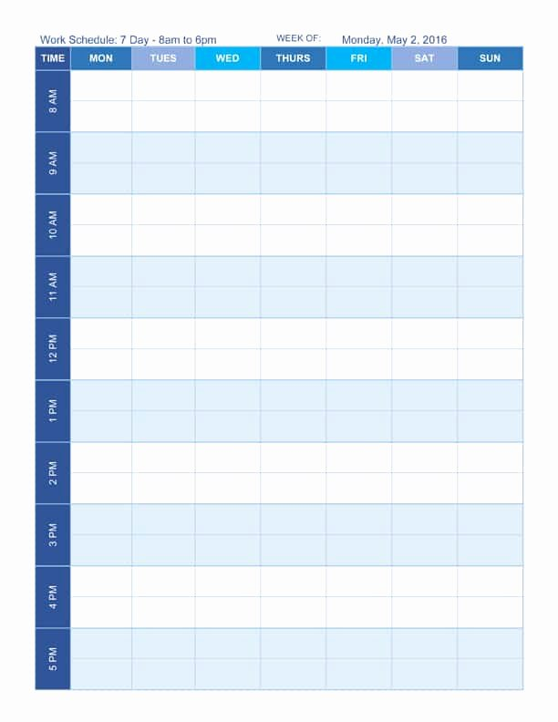 7 Day Work Schedule Template Luxury Free Work Schedule Templates for Word and Excel