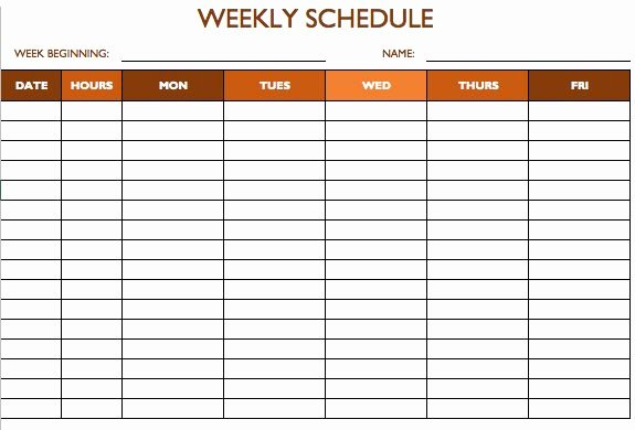 7 Day Work Schedule Template Luxury Work Schedule Template 5 Days