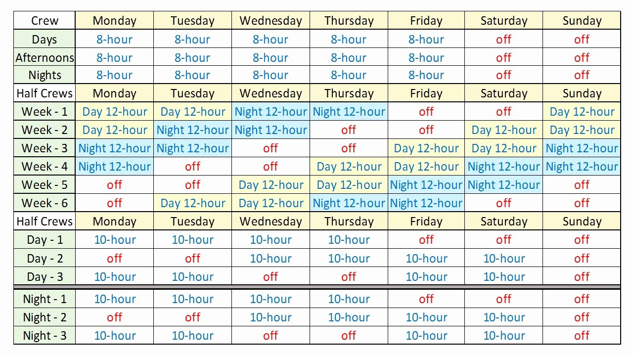 8 Hour Shift Schedule Template Awesome 8 Hour Shift Schedule Template