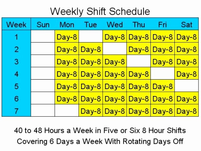 8 Hour Shift Schedule Template Inspirational 8 Hour Shift Schedules for 6 Days A Week