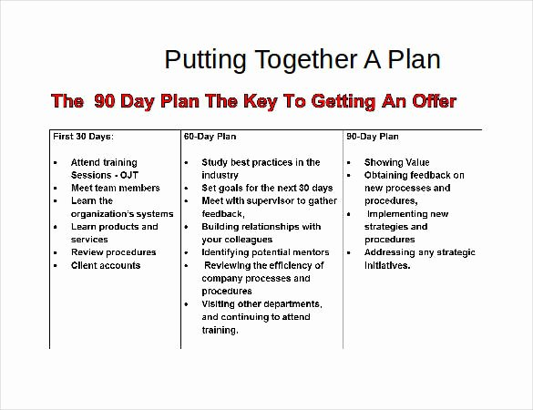 90 Day Planner Template Awesome 31 30 60 90 Day Plan Templates Pdf Doc