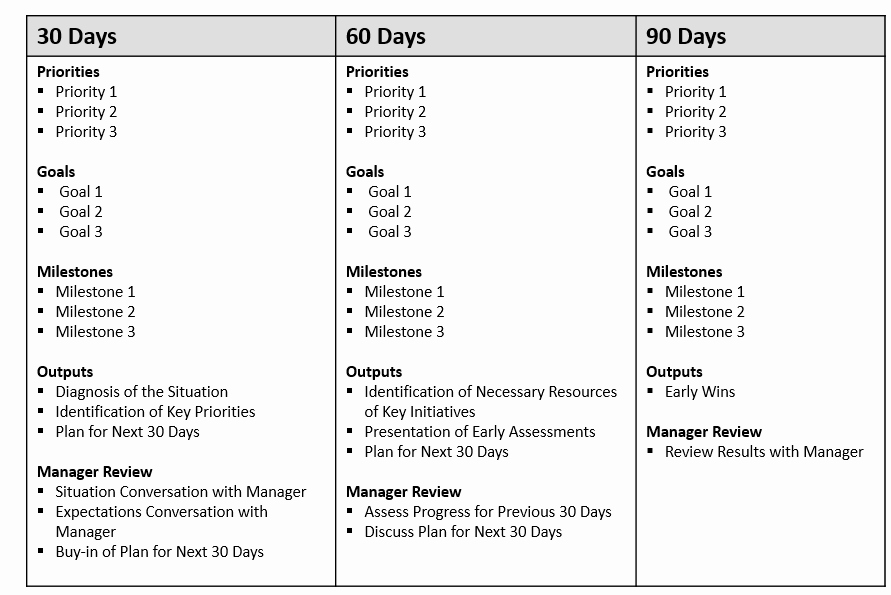 90 Day Planner Template New 30 60 90 Day Plan