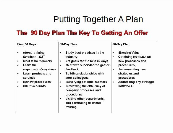 90 Day Work Plan Template Elegant 37 30 60 90 Day Plan Templates Word Pages Pdf Google