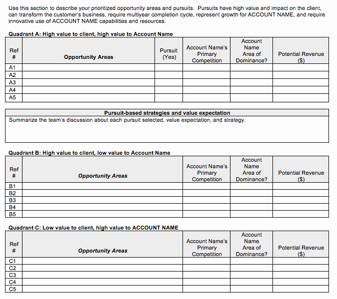 Account Management Plan Template Unique Go to Market Strategy Strategic Account Plan Template