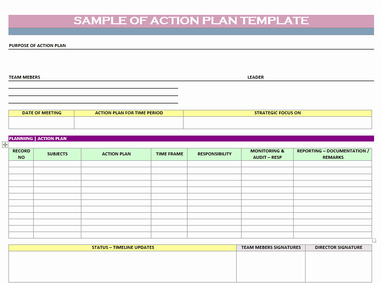 Action Plan Template Excel New Action Plan Templates Word Templates Docs
