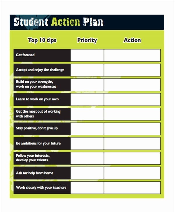 Action Plan Template for Students Awesome 8 Student Action Plan Templates Free Sample Example
