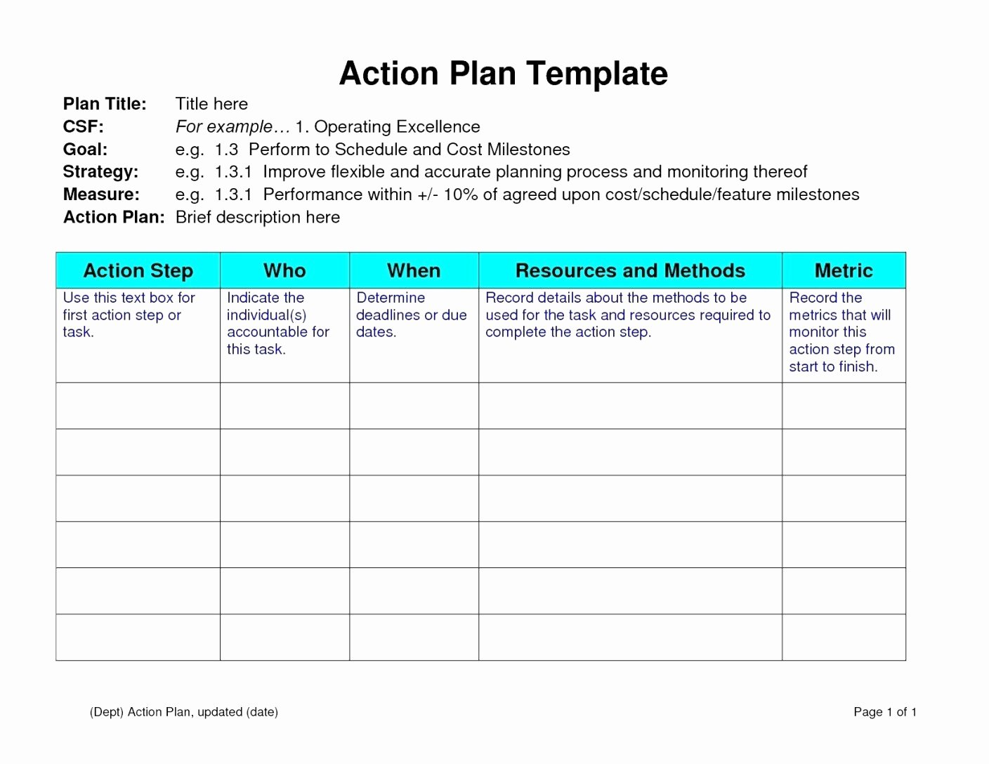 Action Plan Template for Students Awesome Action Plan Template for Teachers – Ndtech