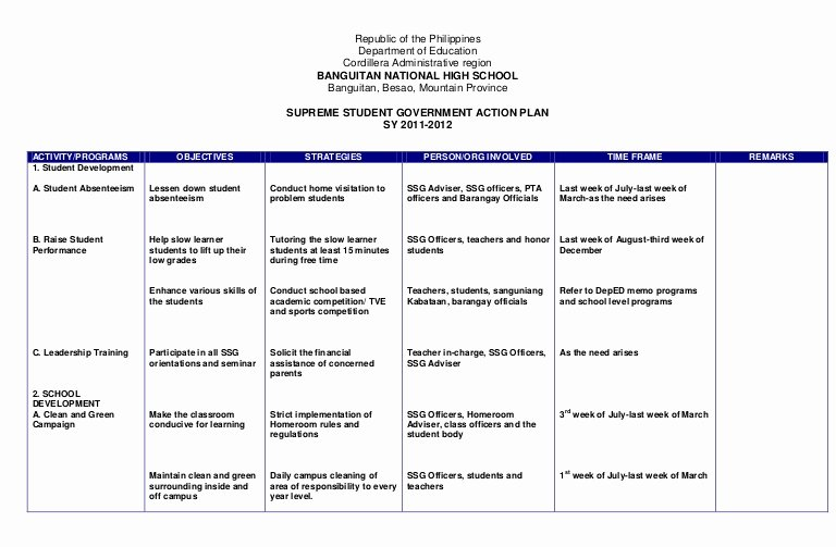 Action Plan Template for Students Best Of Action Plan Ssg