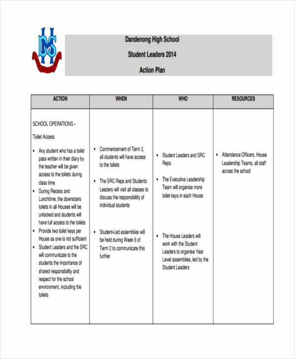 Action Plan Template for Students Fresh 8 Student Action Plan Templates Free Sample Example