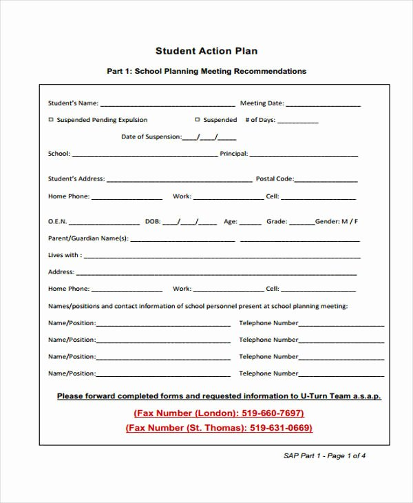Action Plan Template for Students New 8 Student Action Plan Templates Free Sample Example