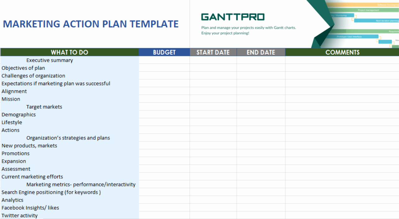Action Planning Template Excel Fresh Marketing Action Plan Template Free Download