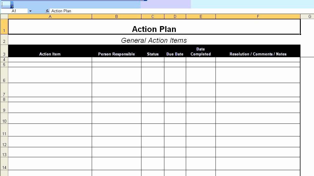 Action Planning Template Excel New Excellent Action Plan Template Example In Ms Excel format