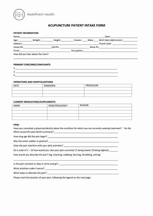Acupuncture Intake form Template Beautiful Acupuncture Intake form Redefined Health Printable Pdf