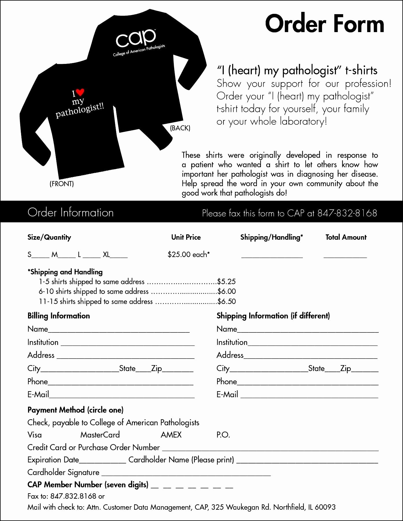 Apparel order form Template Free Elegant T Shirt order form Template Microsoft Word